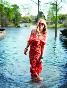 SALT & PEPPER ACCESSORY BOUTIQUE Make a splash this summer in a long printed dress from Salt & Pepper. We love the round, colorful sunglasses, stacked bracelets and statement necklace.