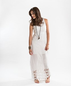 Pearl Pumphrey's Contrasting styles of luxurious Italian lace make this maxi dress a stand-out piece for day-to-night summer looks. Accessorize with layered bracelets and a long, beaded necklace.