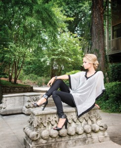 Bent Oaks Boutique Ellie is glamorous in a black cigarette pant paired with this stylish black and white tunic. Add a heel and graphic cuff for an updated look.