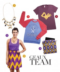WHERETOFIND: 1) Black & gold necklace - Cara's Boutique 2) Louisiana Tech Bulldog sweatshirt- Mr. P's Tees 3) Maroon and gold Louisiana tee - Salt & Pepper Accessory Boutique 4) Purple and gold zippered pouch - Maison Couture Clothiers, 5) Gold tiger necklace - Legacy Silver & Gifts 6) Purple and gold chevron dress - Cara's Boutique