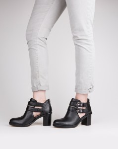 The Fashion of Ruston This ankle boot will be one of the most popular girls in your closet. It features a chunky heel, rounded toe and bold details like the double-buckle and zipper accent.