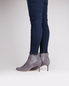 The Toggery A stiletto heel on these grey, pull-on ankle boots adds the voom to the va-va-voom. Perfect for a day to night transition. Find them at The Toggery.