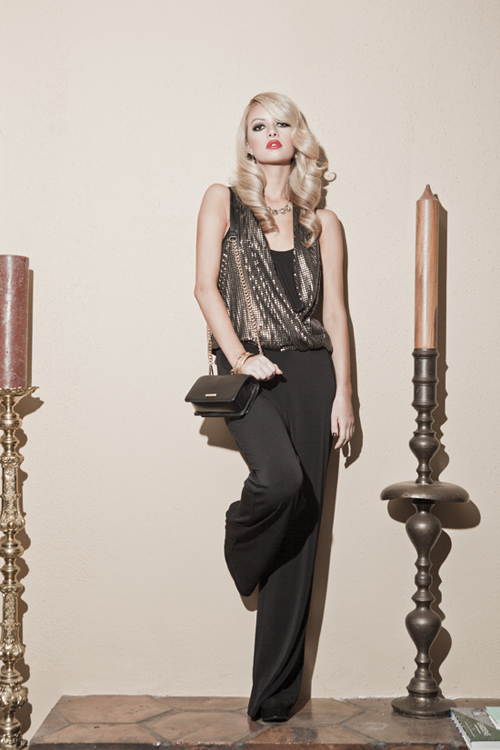 ac31a79f802119 The Fashion of Ruston: Golden sequins blanketing the surplice bodice step  up the glam of this stylish one-piece jumpsuit. Add a handbag with chain  strap and ...