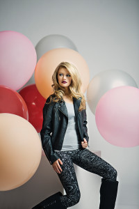 MAISONCOUTURECLOTHIERS Feminine and edgy, this moto jacket pays homage to a classic biker jacket with a boho flair.  Stay on trend with these leggings featuring silvery tapestry fused on custom ponte fabric.
