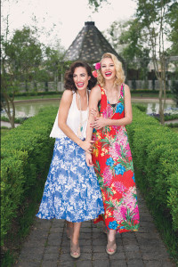 HERRINGSTONES Kayla and April are having a blast in these Show Me Your Mumu outifts. Joyful flora dance across a vivid red background in Kayla's tropical maxi. Add a long, beaded necklace and neutral wedge for a finished look. A brilliant blue and classic white baroque pattern makes April's tea party midi skirt perfect for this season's sunny days. Complete the outfit with this darling crop-fitted tank with dangling lace.