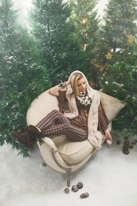 THEFLEURTYGINGER Don't be scared to mix patterns and colors this winter. Ellie looks cozy in this bell-sleeve shirt with furry hooded vest. Mix it up with these plaid fleece-lined leggings and a houndstooth infinity scarf. Finish the look with these fringed booties and layered bracelets.