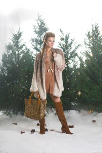 HEMLINEMONROE This short-sleeve faux suede shift dress is perfectly paired with a stunning ombré rabbit fur coat. This suede over-the-knee boot features tonal stitching and a stacked heel and can also be pushed down for a slouchy look. Accessorize with an oversized tote and beaded and horn necklace.