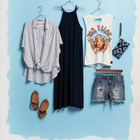 FREE BIRDS BOUTIQUE For a fresh and funky style, these essentials are sure to keep you cool this summer. Pair a distressed denim shirt with a band tee. Layer the striped shirt for nights or change the look with this great maxi.