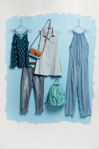 LILYANA'S Get the blues this summer – in a good way. From a denim tunic dress to this stylish romper. These looks combine the season's hottest hue.